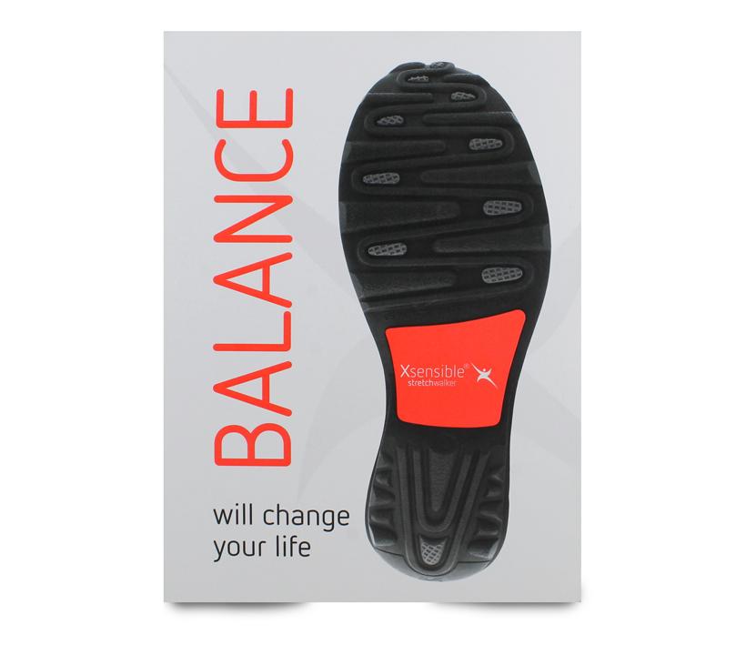 Xsensible stretchwalker Balans verandert je leven showcard